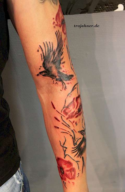 Bild rabe Mohnblumen watercolor tattoo